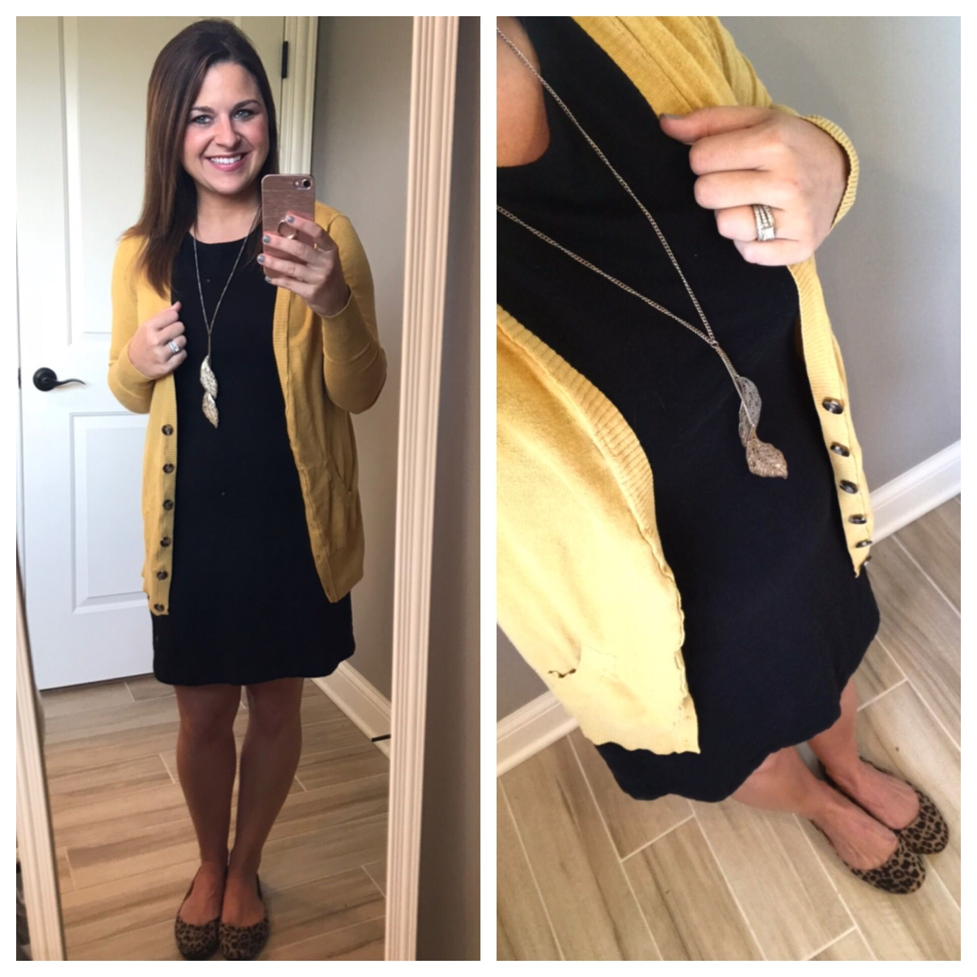 Mustard Cardigan Black Dress Leopard Flats Perfect Combination For An Easy Teaching Outfit Basic Dress Teaching Outfits Mustard Cardigan [ 1936 x 1936 Pixel ]