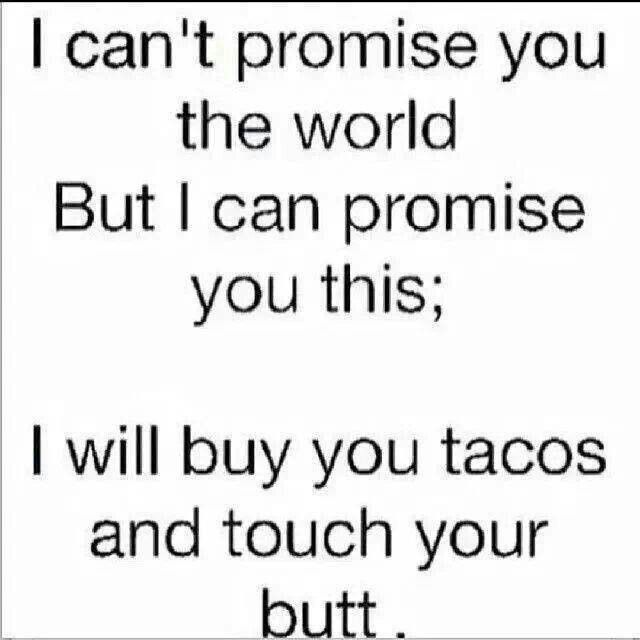 I Canu0027t Promise You The World But I Can Promise You This; I Will Buy You  Tacos And Touch Your Butt   Quote