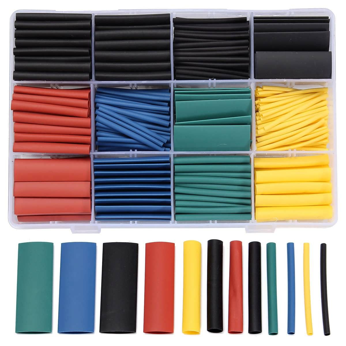 530 PCS Halogen-Free 2:1 Heat Shrink Tubing Wire Cable Sleeving Wrap ...