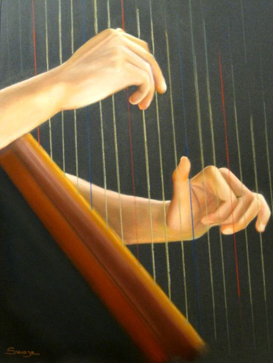 Harpiste - Swaze, peintre pastelliste