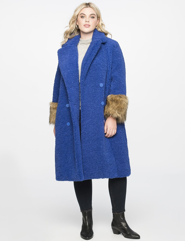 Boucle Coat With Fur Cuffs Women S Plus Size Coats Jackets Eloquii Boucle Coat Dress Shirts For Women Plus Size Tunic Dress [ 1370 x 1050 Pixel ]