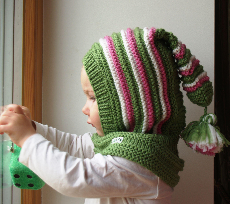 Hand Knit Pink /& Green Child/'s Beanie Hat