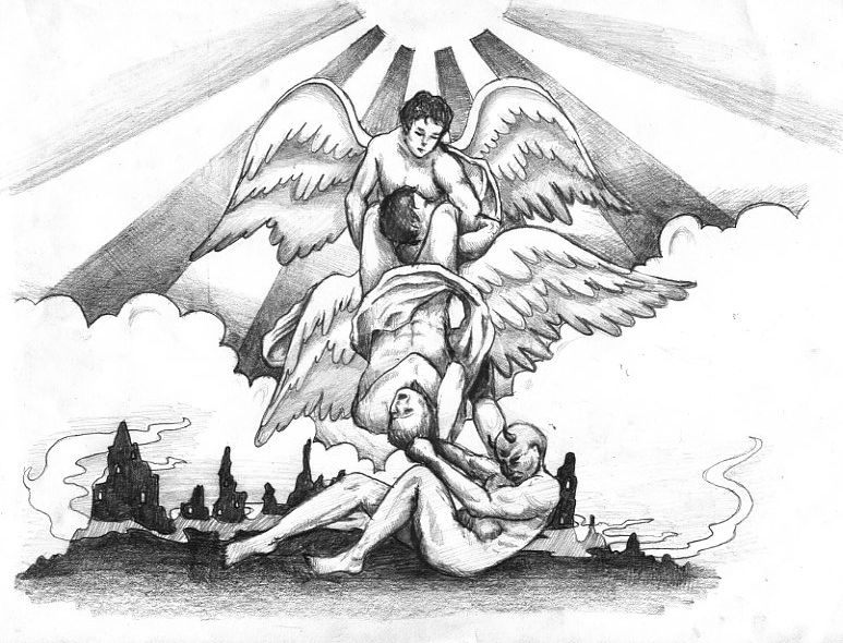 Angel Vs Demon Tattoo By Leedeeyah On Deviantart Demon Tattoo Angels And Demons Angel Drawing