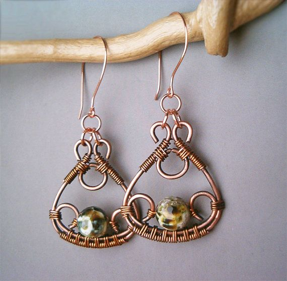 Wire Wrapped Earrings Copper and Green FireCrackle by GearsFactory, €20.00