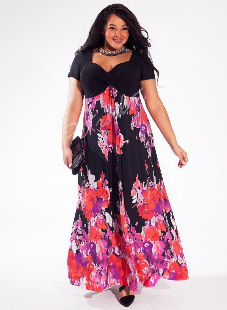 efc3d7c29024 Maxi šaty JENNA od Igigi pro plnoštíhlé - květovaná sukně