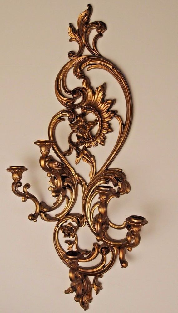 Vtg Home InteriorHomco 5 Arm Wall Sconce 5 Wheat Etched Votive