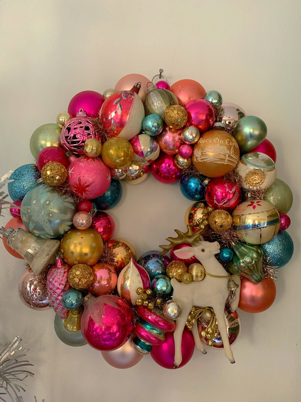 16 5 Vintage Reindeer Ornament Wreath Mercury Glass Vintage Ornament Wreath Vintage Christmas Decorations Vintage Christmas Ornaments