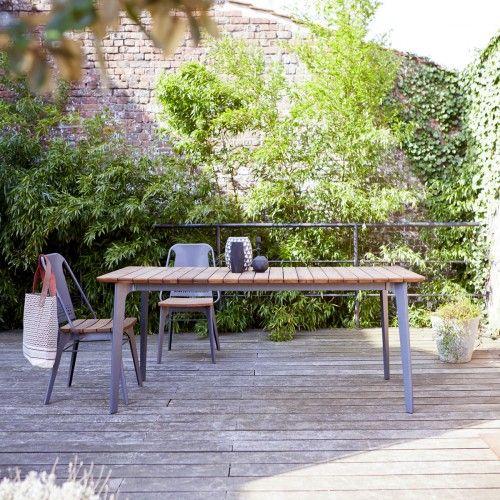 Tikamoon Toscane Teak And Metal Outdoor Table 180x80 Idea Metal Outdoor Table Outdoor Furniture Sets Garden Table