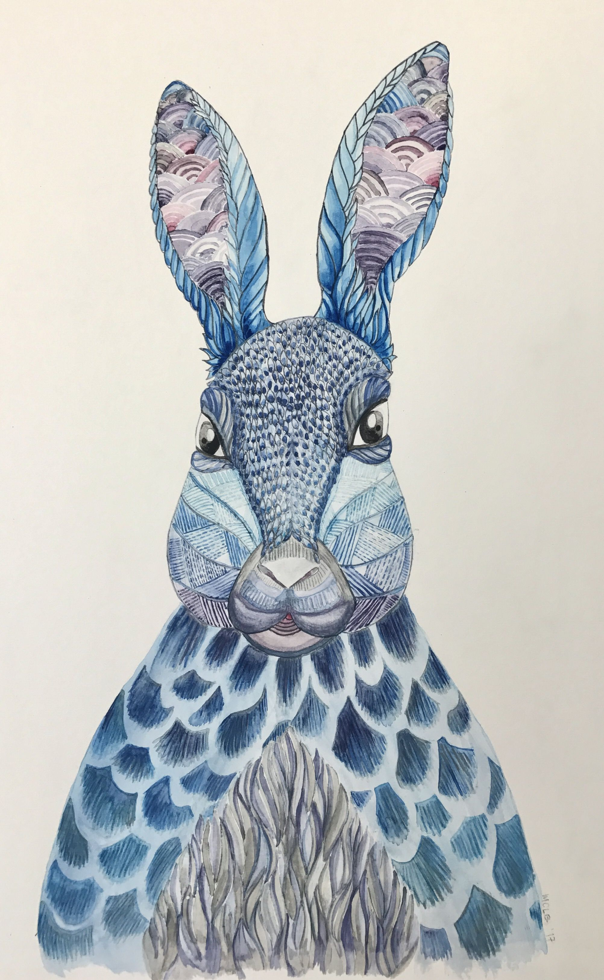 Blue Rabbit Watercolor Painting Millie Marotta Animal Kingdom Adult Coloring Book