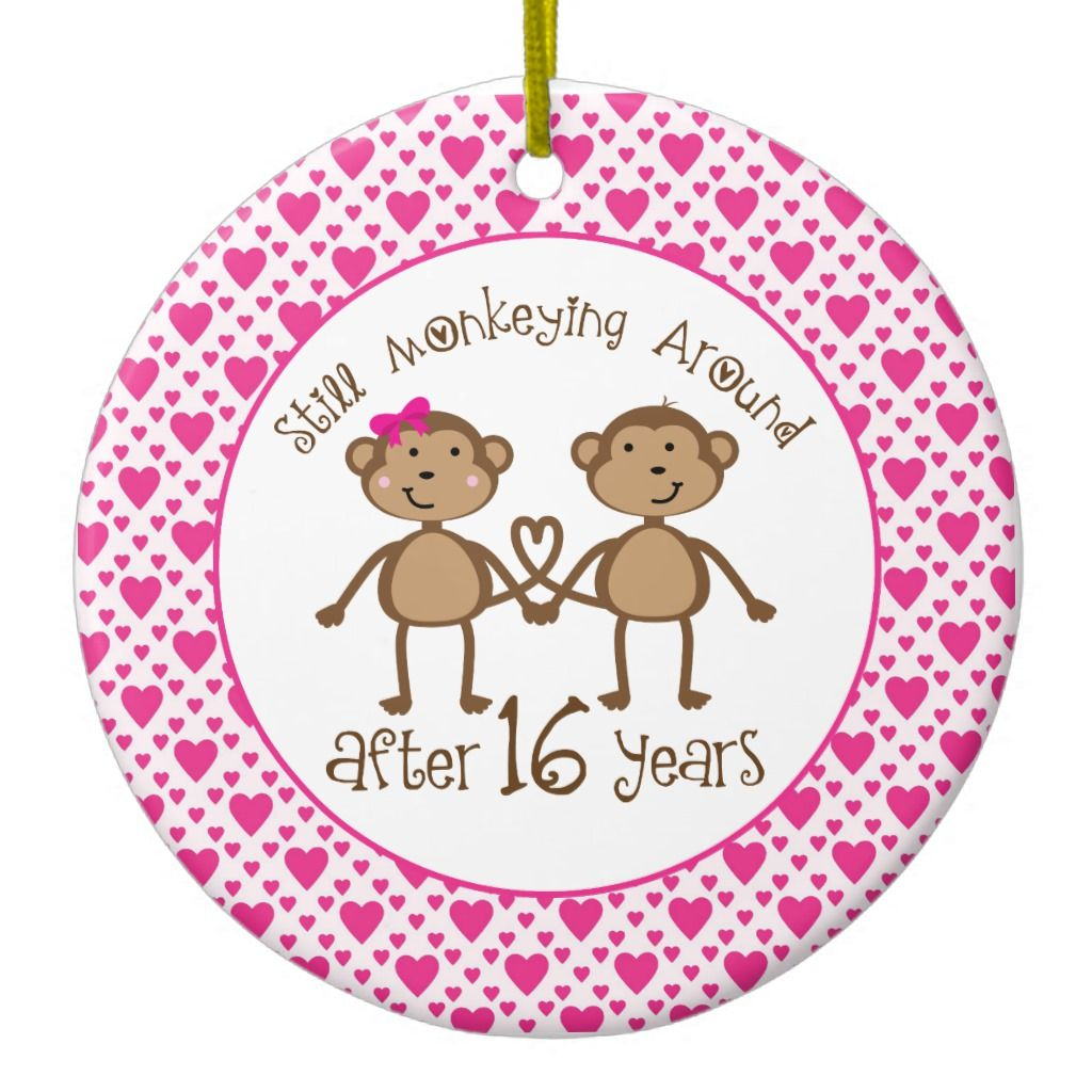 16th Anniversary Monkey Love Ornament 30th