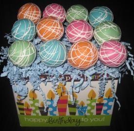 cake pop gift basket 12 Chocolate Birthday Cake Pops Gift