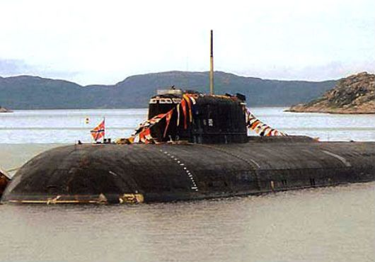 Russian submarine K-119 Voronezh assisted small boat during