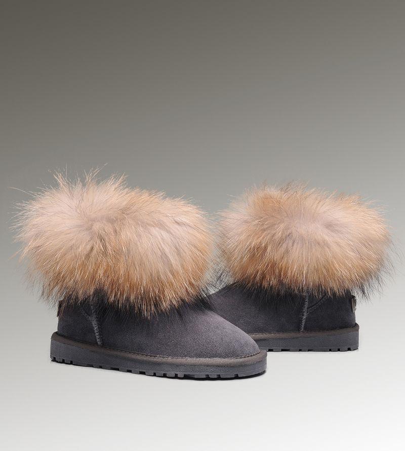 8f6875b53e7 UGG Mini Fox Fur 5854 Grey Boots | Women UGG Fox Fur Boots | Uggs ...