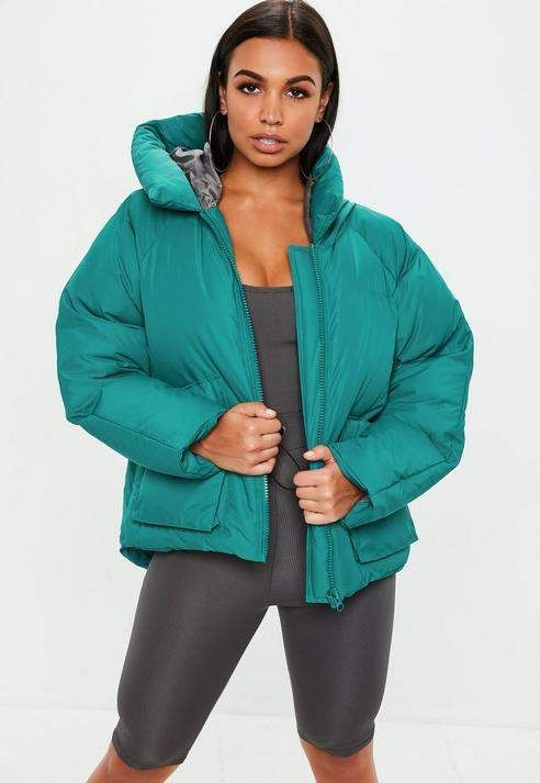 439c93da1c2e Missguided Teal Hooded Ultimate Puffer Jacket