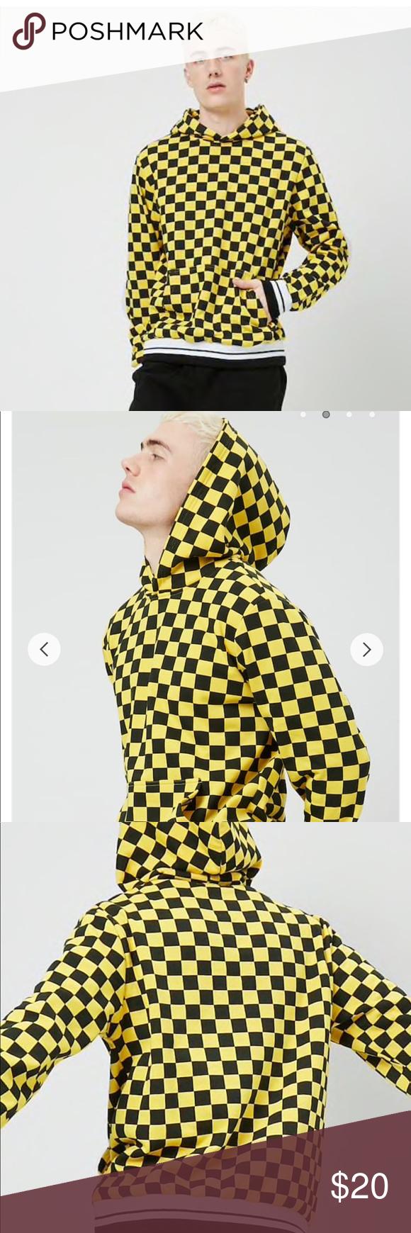 Forever 21 Men S M Checkered Fleece Hoodie Lyellow Fleece Hoodie Yellow Hoodie Knit Hoodie [ 1740 x 580 Pixel ]