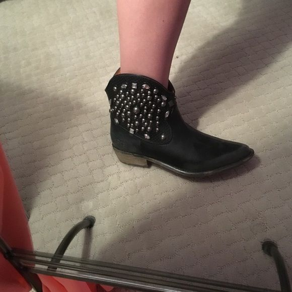 Black embellished short boots These little boots are super cute and are a great statement shoe. They have a cowboy boot feel. Super comfortable and still in good condition! Lucky Brand Shoes Ankle Boots & Booties