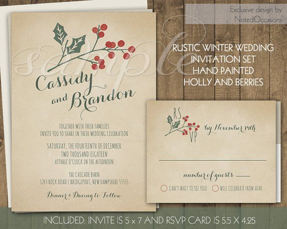 Rustic Winter Wedding Invitations Suite Holly Berries Handpainted Printable  Wedding Stationery Set Digital File Christmas Wedding