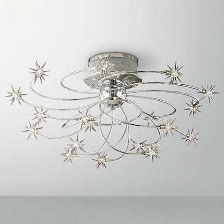 Possini Euro Design Galaxy Chrome 28 1 4 Wide Ceiling Light