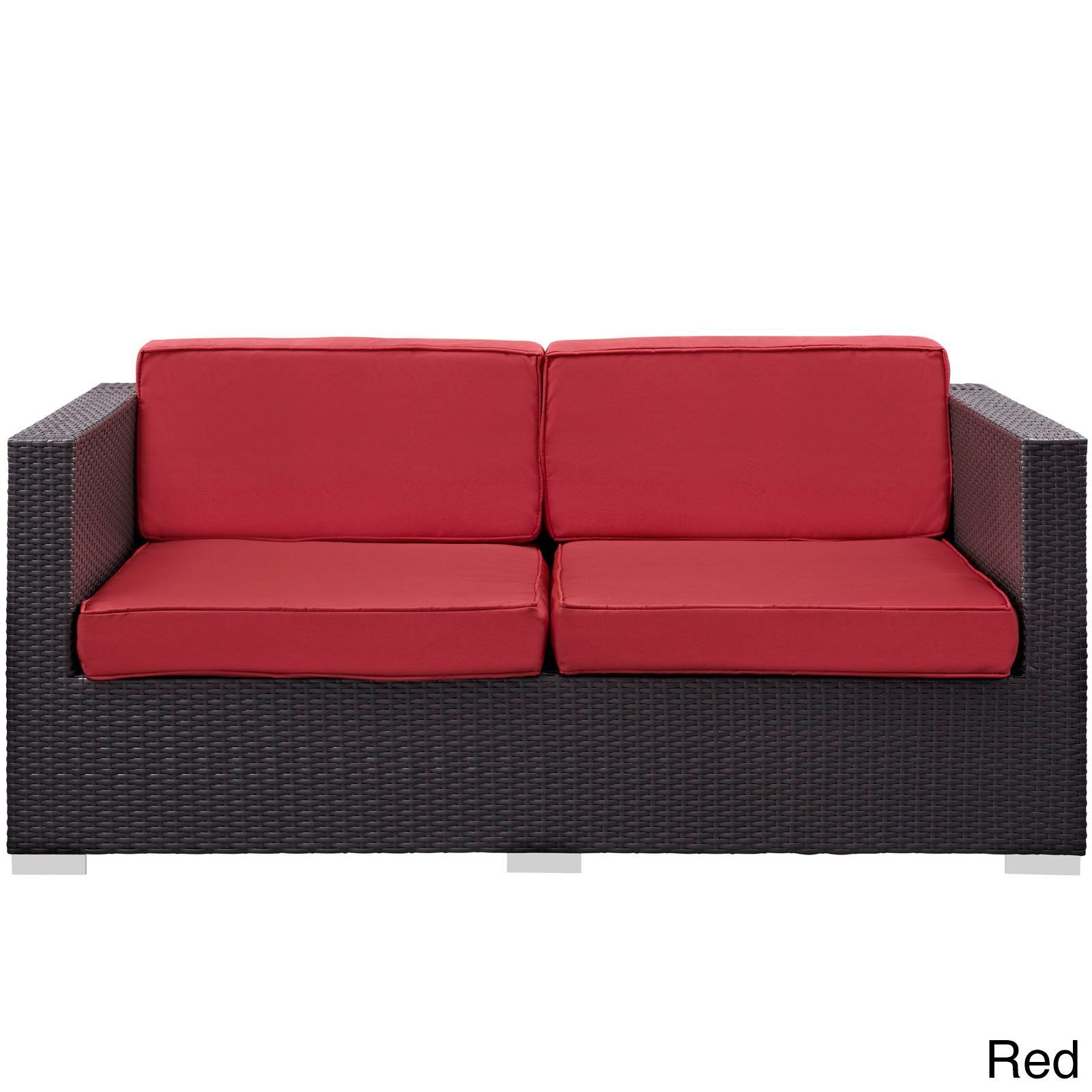 Modway 'Gather' Outdoor Patio Loveseat (Espresso Red), Size 3-Piece Sets, Patio Furniture (Aluminum)