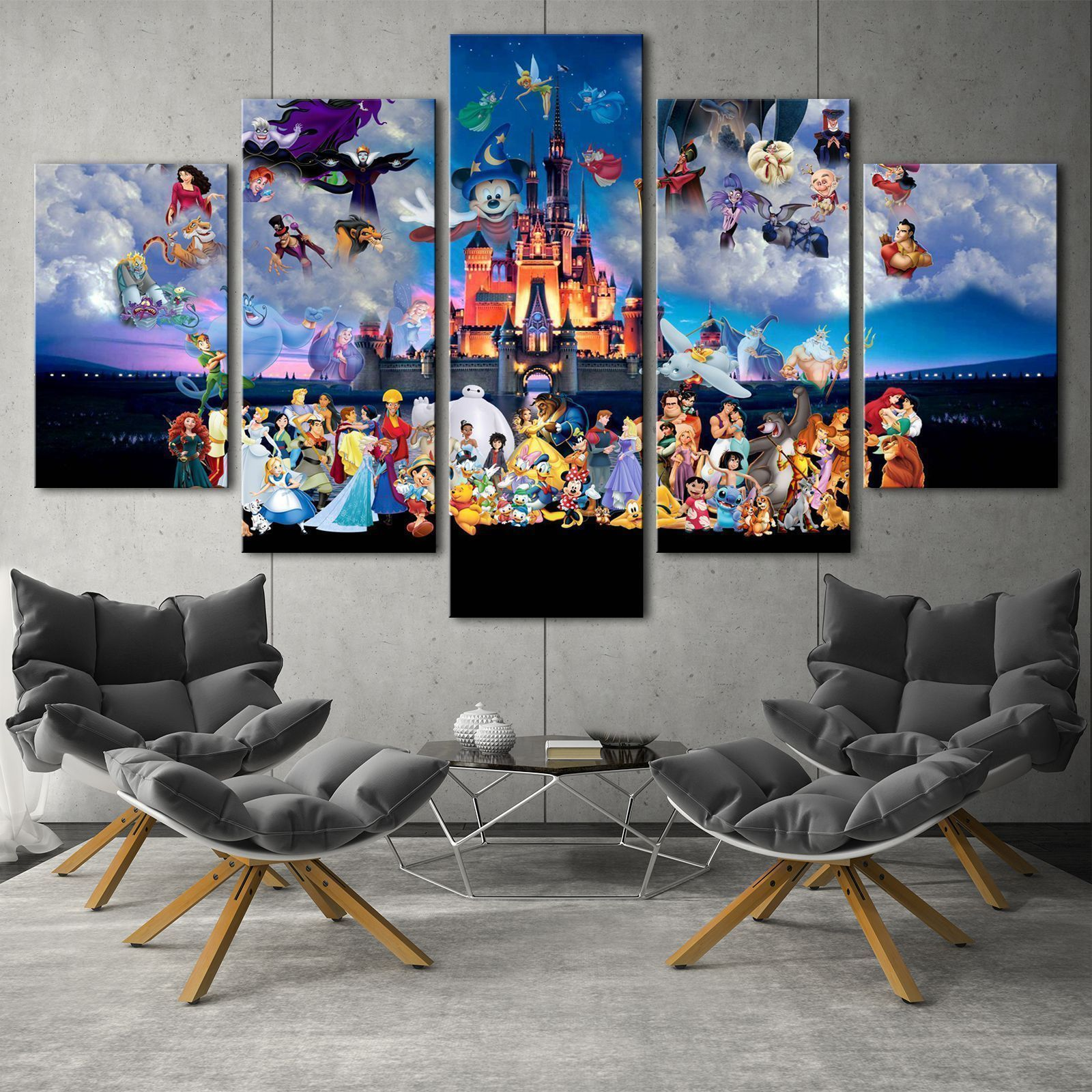 Disney Cartoon Characters HD Print on Canvas Painting Home Decor Framed Wall Art