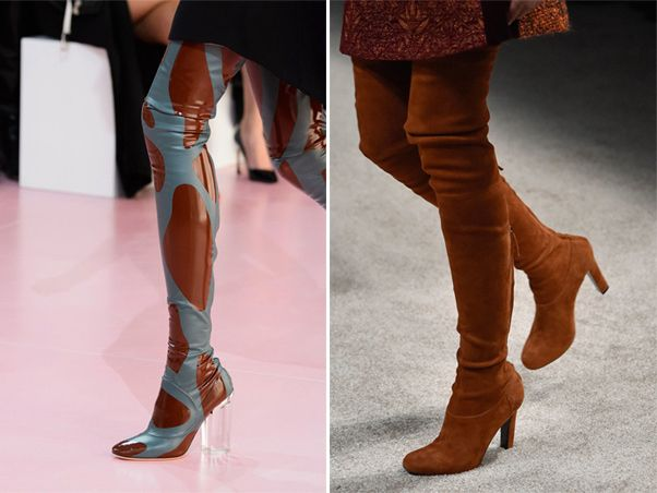 Patent leather and suede tight over the knee boots by Christian ...