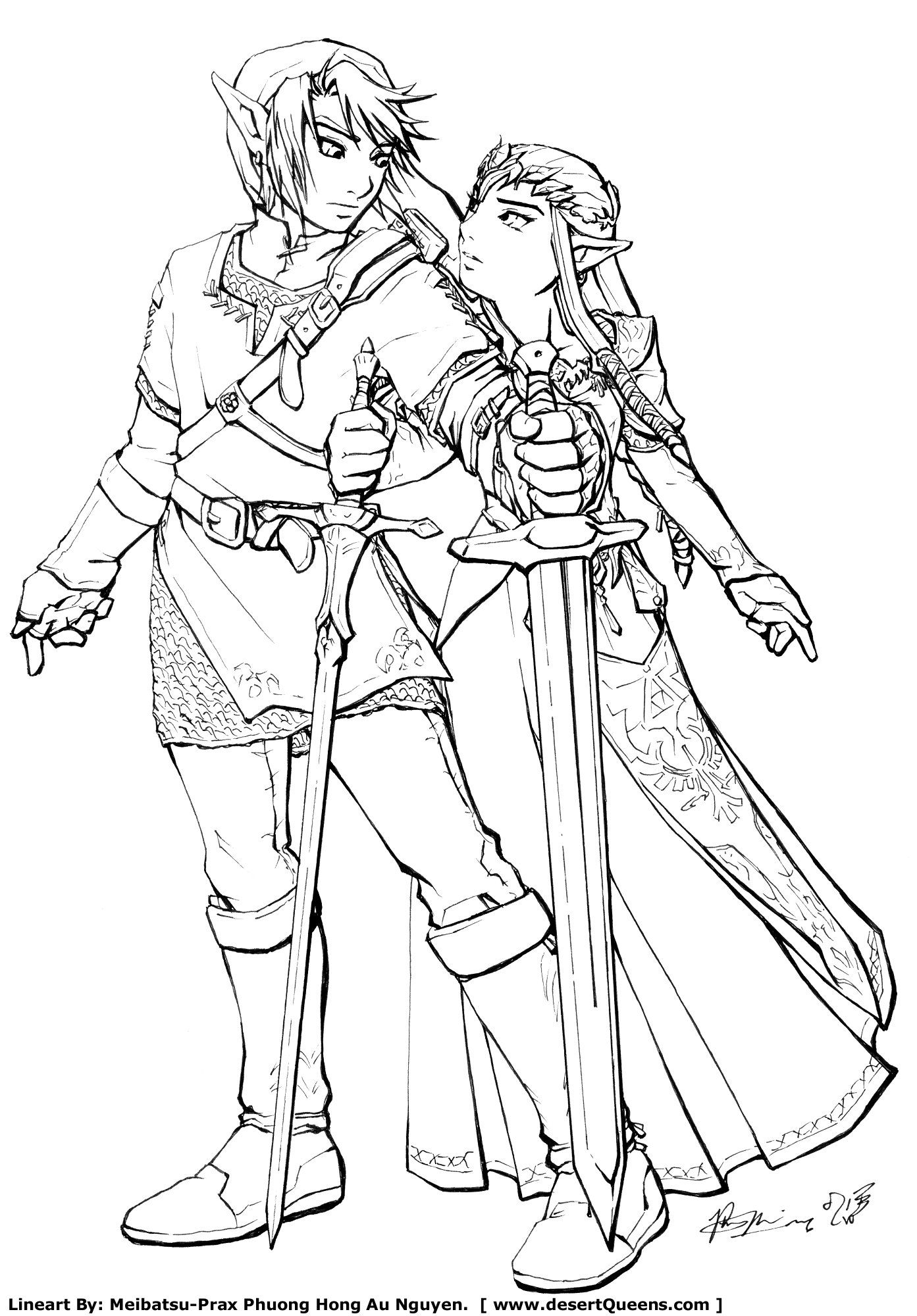 Link And Zelda By Meibatsu On Deviantart Princess Coloring Pages Princess Coloring Coloring Pages
