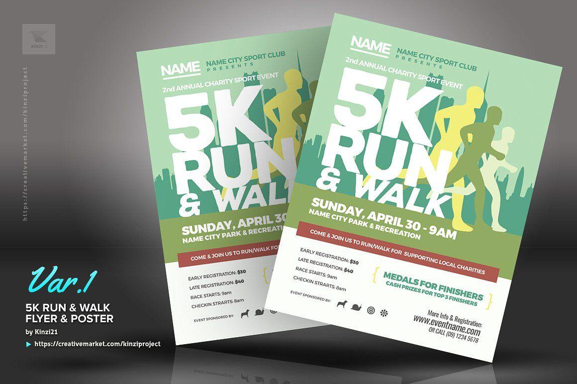 5k Run Walk Flyer And Poster Event Flyer Running 5k Flyer