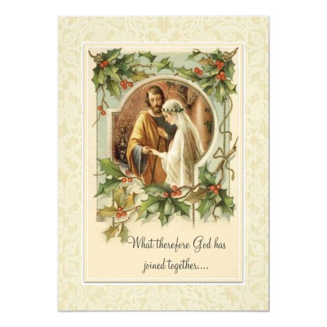 Catholic Christmas Traditional Wedding Invitation