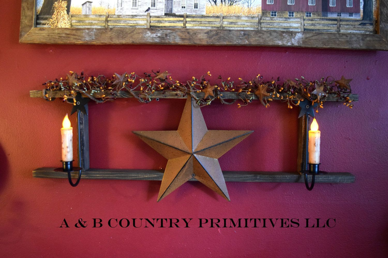 Country lath ladder decorated w berry garland metal barn star country lath ladder decorated w berry garland metal barn star and amish metal sconces biocorpaavc Images