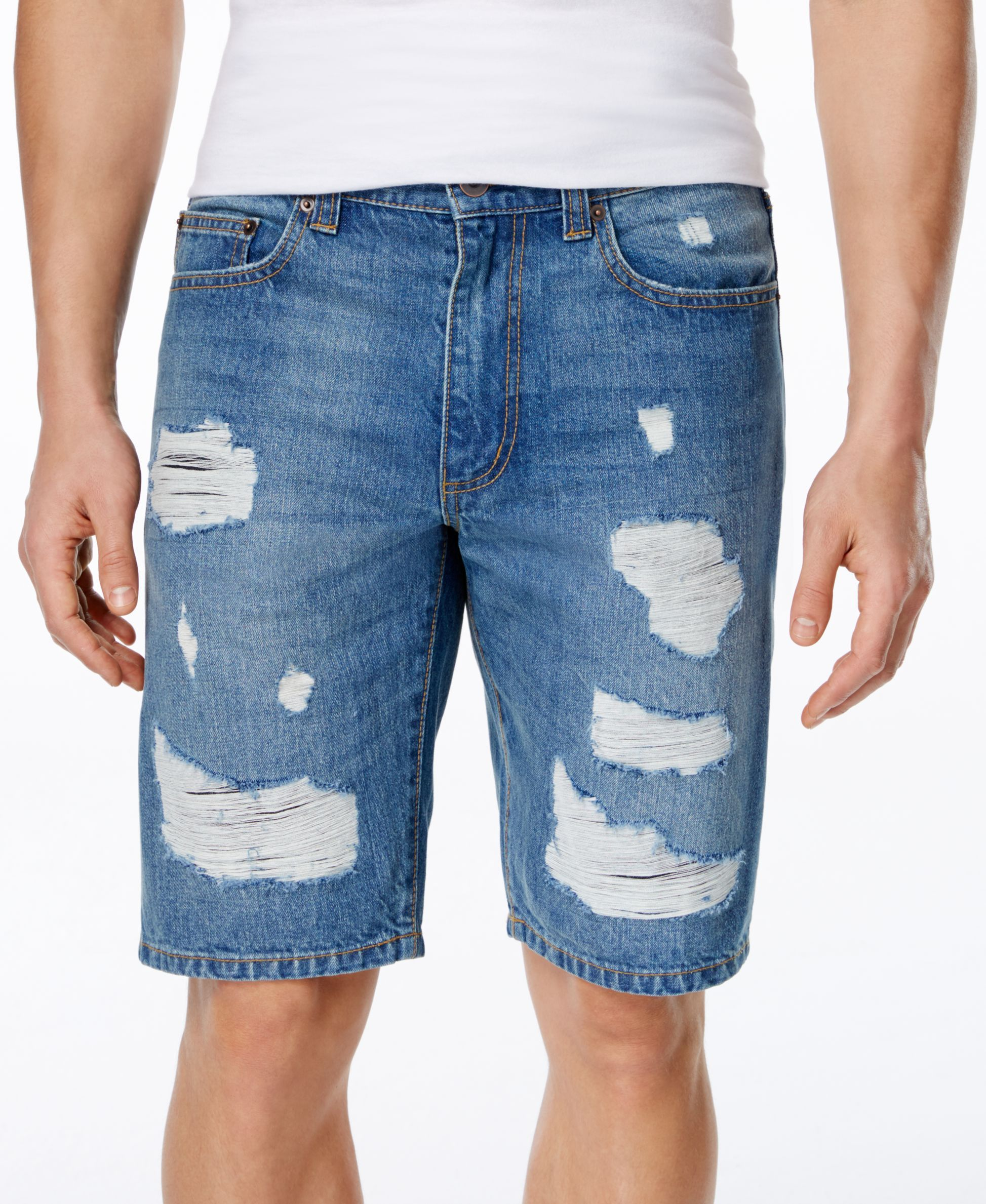 1f2641c8a9be American Rag Men's Slim-Fit Destroyed Denim Shorts, Only at Macy's ...
