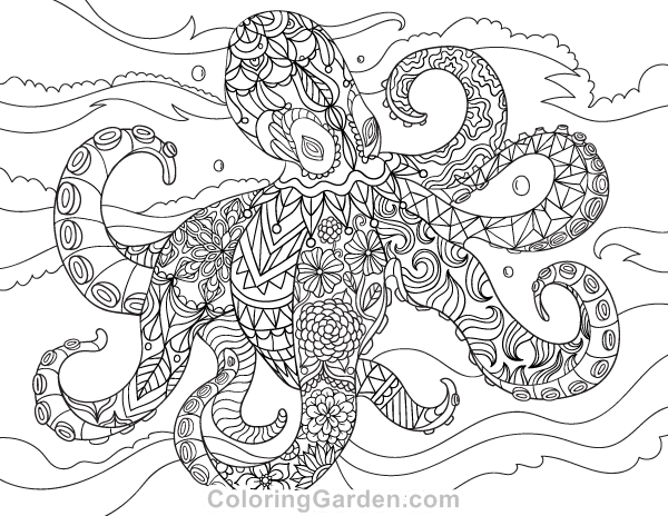 Free printable octopus adult coloring page Download it in PDF