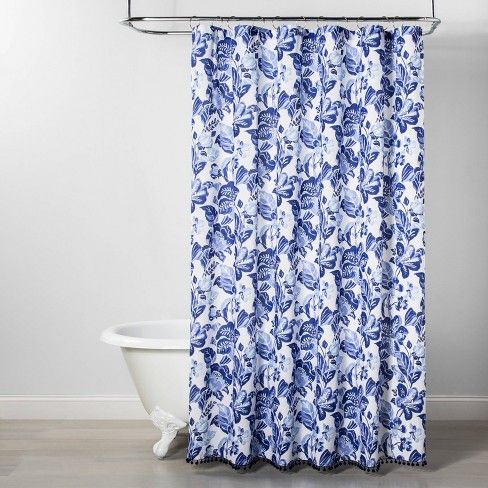 Over Sized Floral Print Shower Curtain Blue Opalhouse Printed