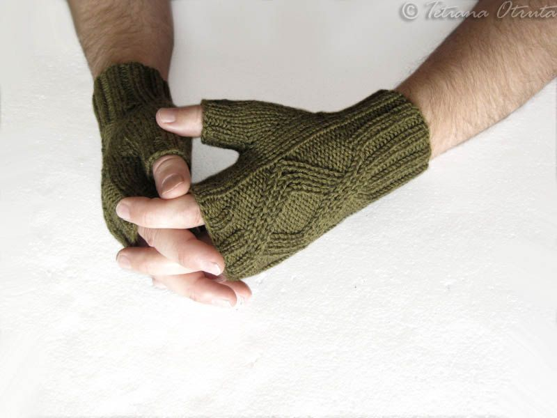 Knit mittens olive men knit gloves hand knit mitts fingerless ...