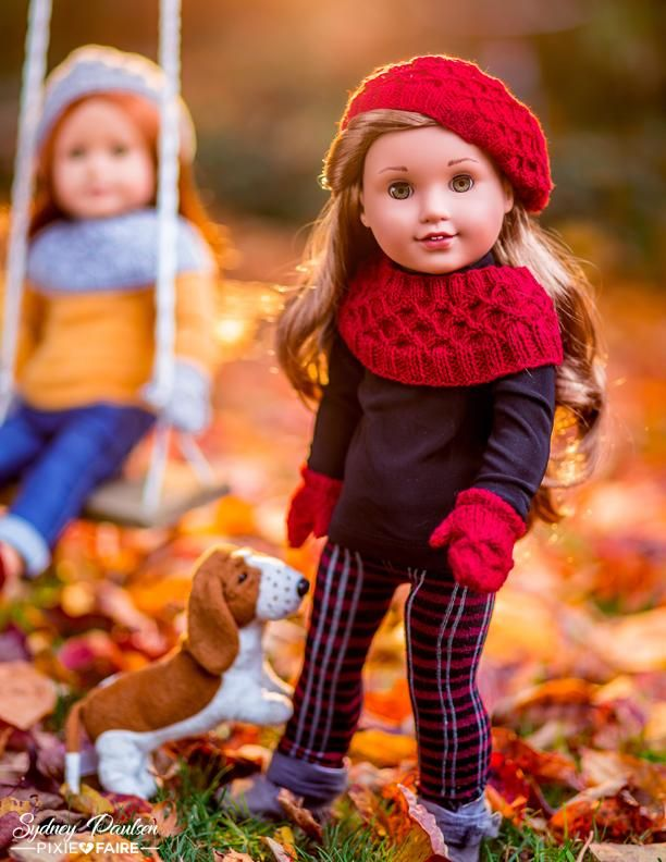 Fashion in Miniature - Dolls in Fall Leaves - Leggings 18 Doll Clothes Pattern - #dollclothes #girldollclothes