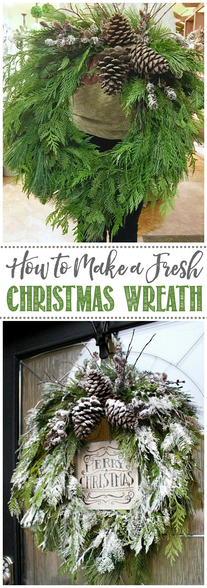 Easy tutorial on how to make a real Christmas wreath using fresh greenery. So pretty for your front porch or Christmas decor! #christmaswreath #freshgreenery #christmasdecorating #christmasdecor #christmasfrontporch