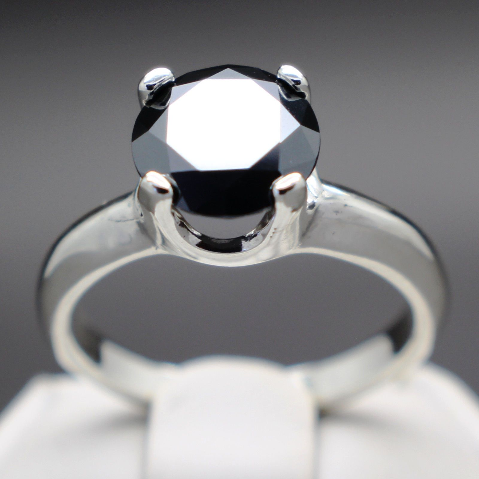 jewelry 3 11cts 9 84mm Natural Black Diamond Ring Certified AAA