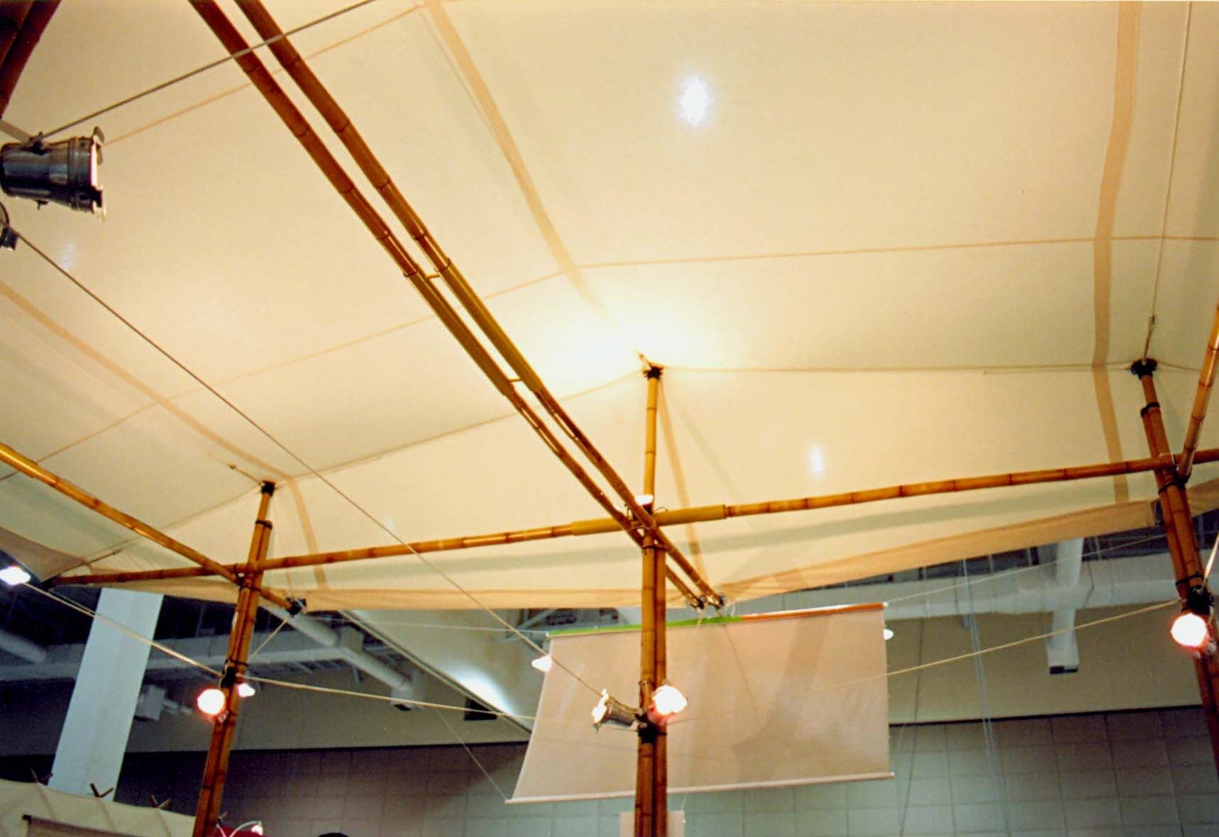 Bamboo tensegrity booth