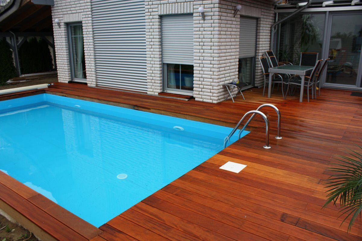 terrasse und pool umrandung aus bilinga terrassendielen von holzhandel deutschland ideen f r. Black Bedroom Furniture Sets. Home Design Ideas