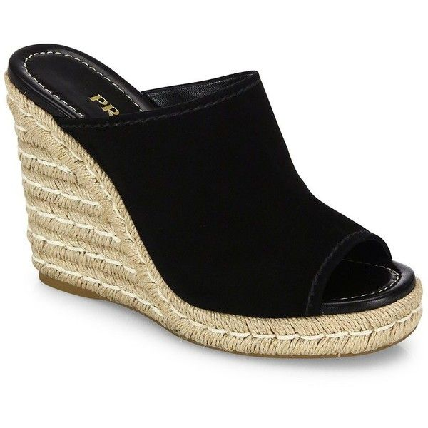 76f637b9c230 Prada Espadrille Wedge Mules ( 495) ❤ liked on Polyvore featuring shoes