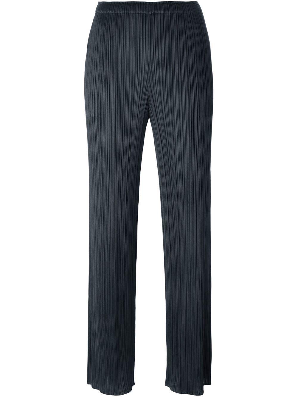Pleats Please By Issey Miyake Pantalon Droit A Design Plisse Farfetch Com Style Du Japon Pantalon Taille Haute Pantalon