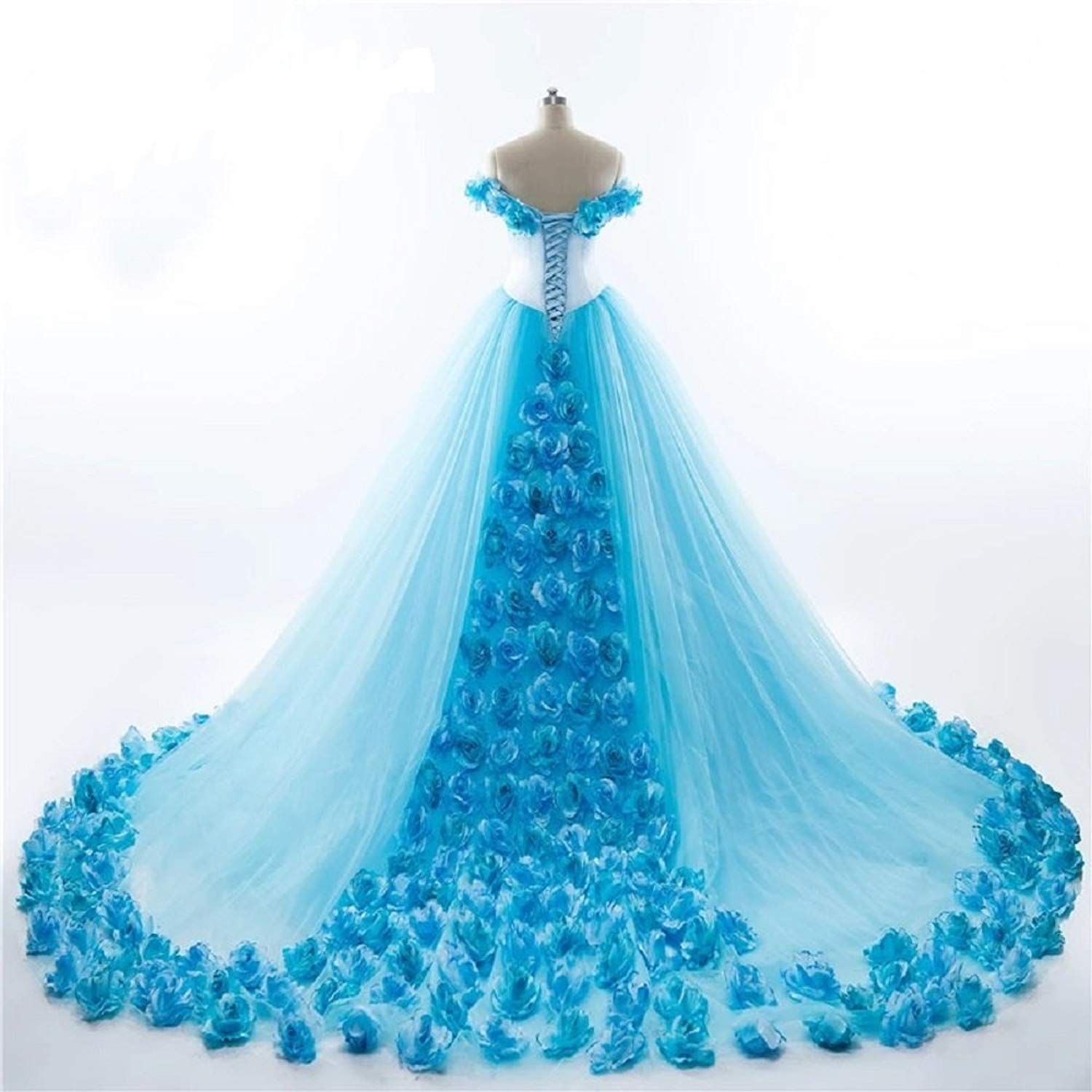 Russian royal sky blue cloud flower rose wedding dresses long tulle