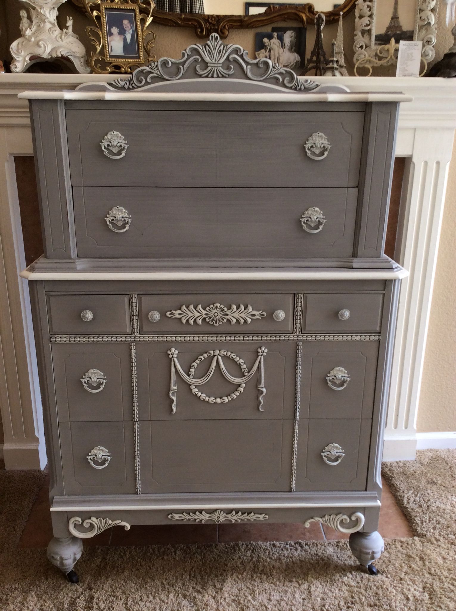 Finished Chest Painted With Pittsburg Grey And Vintage White Trim Gray Painted Furniture Painted Furniture For Sale Furniture Fix [ 2048 x 1530 Pixel ]