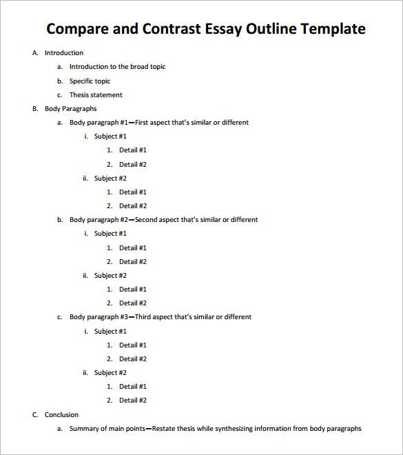 Compare And Contrast Essay Example For Middle School Essay Outline Template    Free Sample, Example, Format
