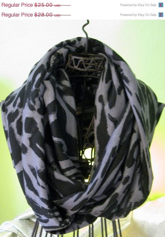 ON SALE Infinity Circle Scarf Black and Gray by ScarfLadyDesigns, $22.50