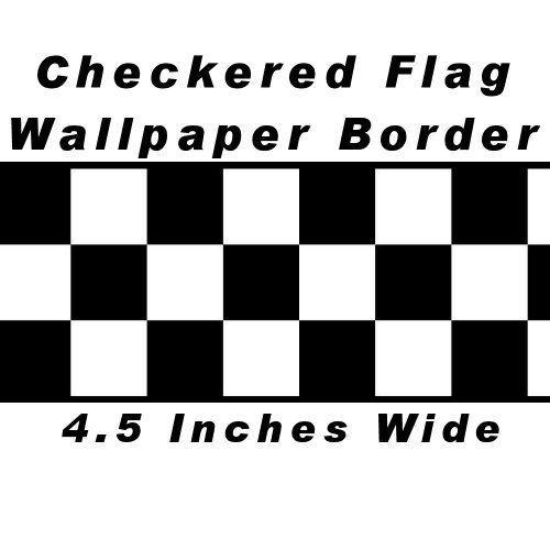 Checkered Flag Cars Nascar Wallpaper Border 4 5in Black