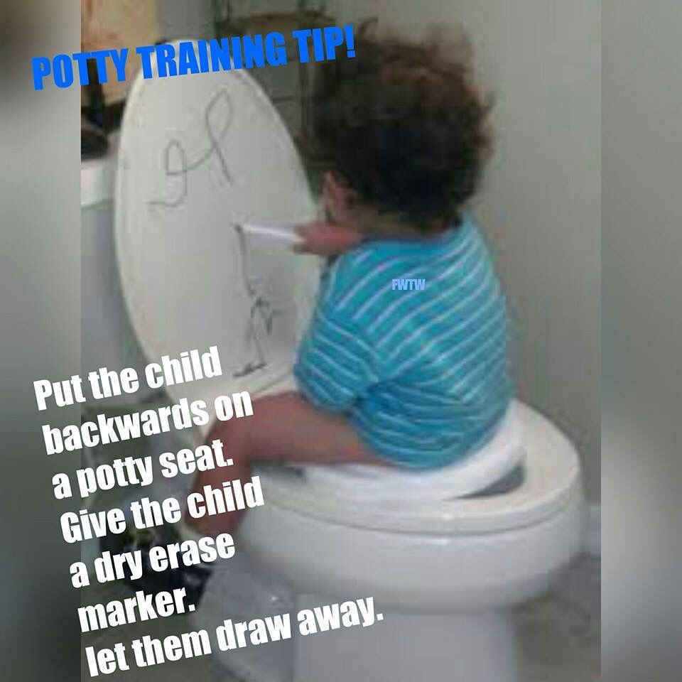 Put The Child Backwards On A Toilet Seat Give The Child A Dry