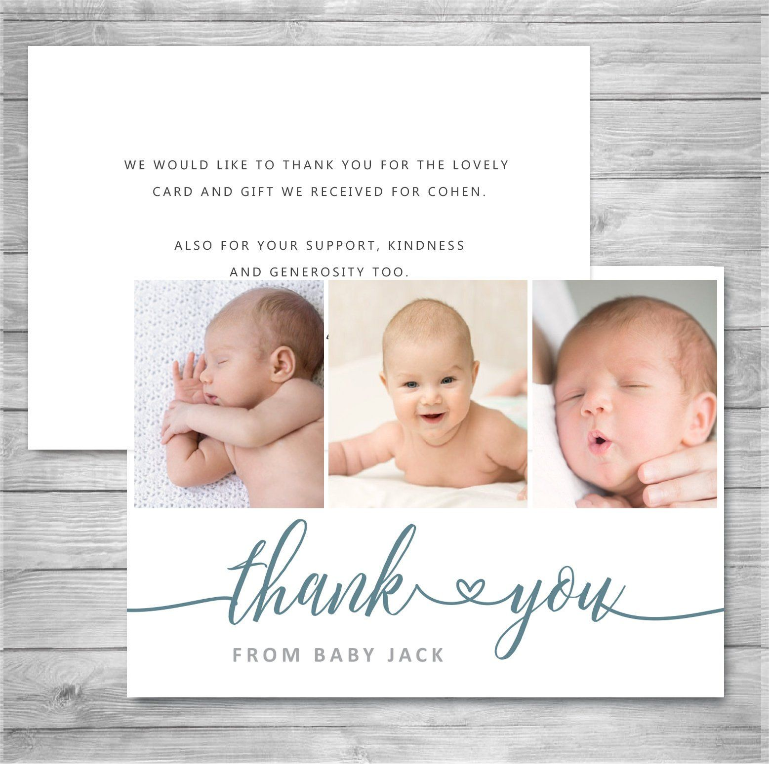 Baby Thank You Cards Photo 3 Card Template Personalised