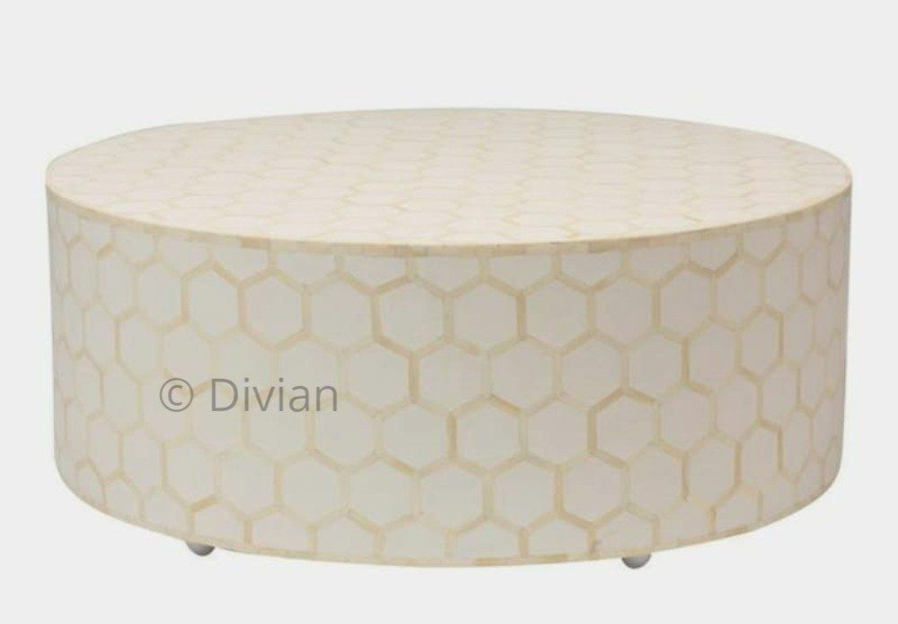 Honeycomb Dew Bone Inlay Round Coffee Table Centre Table