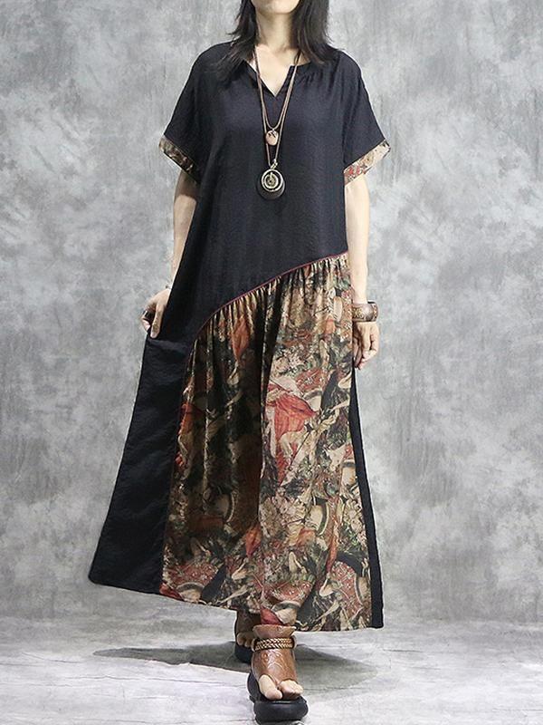 Stitching Ethnic Loose Ruffled V-Neck Maxi Dress 2