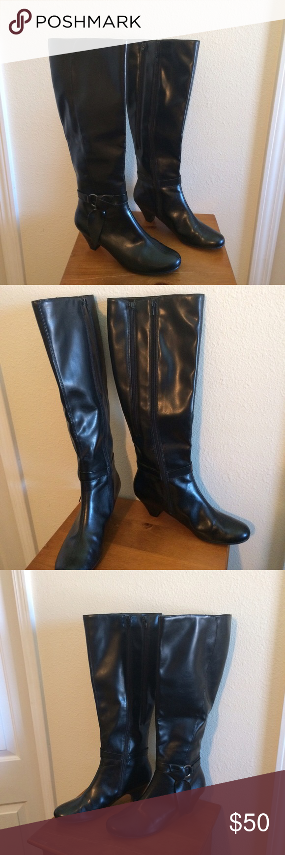 "Gorgeous Aerosoles boots Tall black boots that will go with just about anything. Barely worn because they don't fit me right. Double zipper allows for extra calf room if you need it. Heel height is about 3"".  100% manmade materials, not leather. Smoke free home and thanks for looking! AEROSOLES Shoes Heeled Boots"